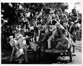 Men Boarding Truck, Passengers with Suitcases,Early Hollywood, MGM Studio,No More Room, Travellers,Travel Photos,Hollywood Collectibles