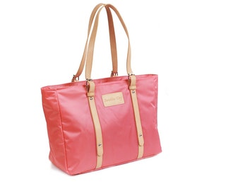 Waterproof Casual Tote Bag (Dark Pink / Apricot)