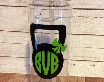 Kettlebell Monogrammed Sports Bottle ~ Monogrammed Water Bottle ~ Personalized Workout Cup