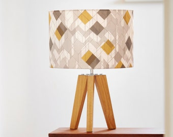 Geometric mustard yellow and grey lampshade, 15cm or 30cm diameter