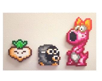 Super Mario, Mario 2 perler birdo snifit, 8 bit perler bead pixel art,