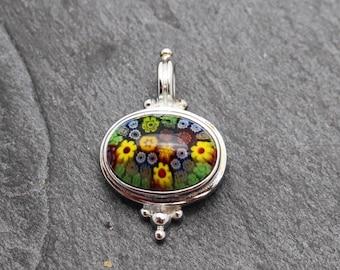 Millefiori Glass and Sterling Silver Pendant, Multi Color