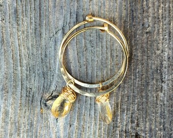 Gold Hoop Earrings with Faceted Gold Rutilated Quartz Wire Wrapped Briolette Natural Stone Handmade
