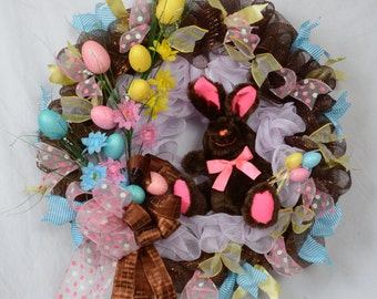 Happy Easter Wreath, Easter Egg Decor, Chocolate Bunny Wreath, Brown and Pink Mesh Wreath, Easter Bunny Wreath, Easter Bunny Decoration
