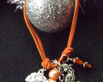 Bird Charm and Knotted Cord Bracelet