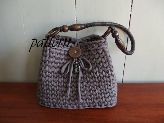 Digital crochet pattern t-shirt yarn bag/download crochet ...