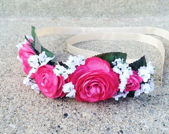 Flower crown with hot pink and white flowers | handmade floral crown | Spring and summer weddings, flower girl, maternity, or newborn