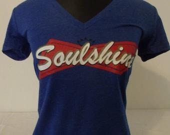 Allman Brothers/Govt. Mule inspired Ladies v neck Soulshine shirt.