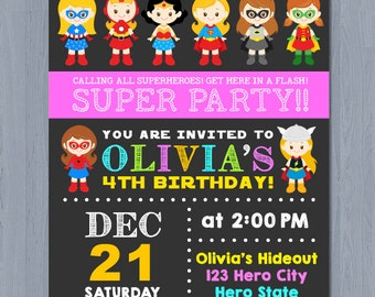SUPERHERO Girl Invitation, SUPERHERO Girl Birthday Invitation, Girl Superhero Invitation, DC Superhero Girls Invitation