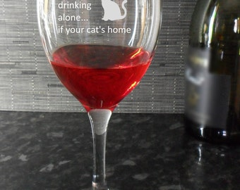 Crazy Cat Lady Engraved Wine Glass Birthday Gift, cat lover, cat owner, present