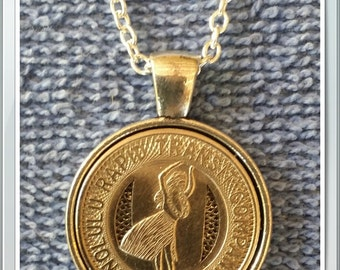 "1951 Honolulu Hawaii Transit Token Pendant Necklace with 24"" Chain Handcrafted"