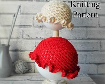 Sun Hat Knitting pattern. PDF DIGITAL DOWNLOAD. Double knit cotton yarn pattern. Knitted flat. Summer hat. Baby hat