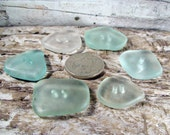 6 pcs of Seaglass Buttons Beach Glass Drilled Sea Glass - Sewing Knitting Glass Buttons - Rare Buttons - Drilled Seaglass
