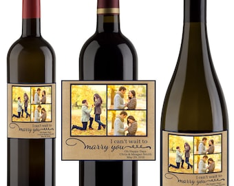 I can't wait to marry you Wine Labels - Wedding Favor - Wine Bottle Labels - Burlap and Lace Wine Labels - I Can't Wait To Marry You Labels