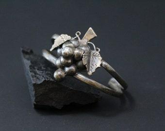 Sterling Silver Vintage TAXCO Grape Bunch Cuff Bracelet