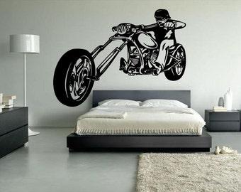 Wall Vinyl Sticker Decals Mural Room Design Pattern Motorcycle  Vehicle Bike Biker Wheels Speed Man mi438