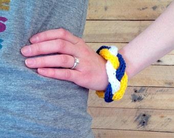 Braided Bangle Bracelet, Knit Bracelet For Her, Sports Fan Team Spirit Wear, Blue, White, Yellow/Gold [THE NADIA BRACELET]