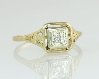 Antique Vintage Estate Art Deco .05ct Genuine Diamond 14K Yellow Gold Engagement Ring 2.2g
