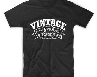 CUSTOM NAME Birthday T Shirt, 70th Birthday T Shirt, 1946 T Shirt, Birthday, Since 1946 T-Shirt, Birthday Shirt, Tshirt, Birthday Tee Shirt
