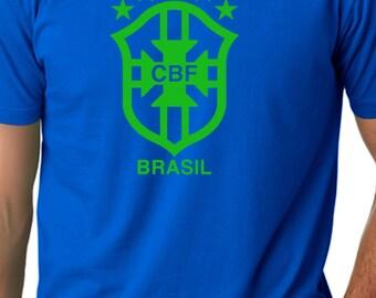 Royal Blue Brasil T Shirt Custom Soccer Grey Brazil