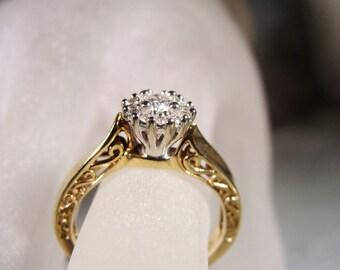 1960s Diamond Ring, KEEPSAKE Diamond Ring, 10K Gold Ring, Engagement Ring, Art Deco Diamond Ring, Diamond Cluster – Size 5.5