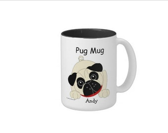 Curious Pug Mugs - Boy and Girl - Personalized