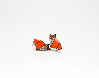 Origami Fox Stud Earrings Animal stud Red Fox Earrings Small Post Earrings Animals earring Woodland Forest Wild animals stud earrings Gift