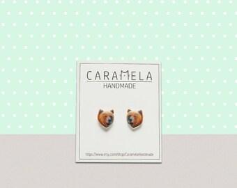 Brown bear Stud Earrings Animal stud Animals earring Brown bear earrings Wild animals stud earrings GIFT IDEA