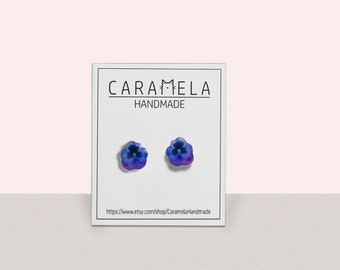 Purple Pansy Flower Stud Earrings Pansy flower earrings Post earrings Purple earrings Gift idea for her