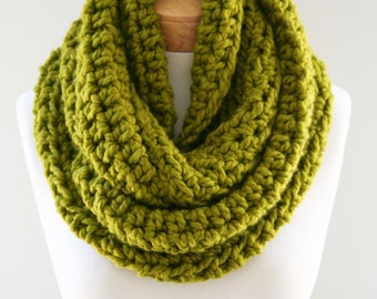 Crocheted Wool Blend Infinity Scarf, Chunky Knit Infinity,  Chartreuse Chunky Scarf, Handmade Womens Scarf