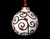 Ceramic Hand Doodled Ornament, ladybugs