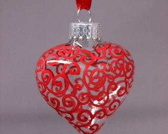 Swirly Glass Heart ornament, hand painted