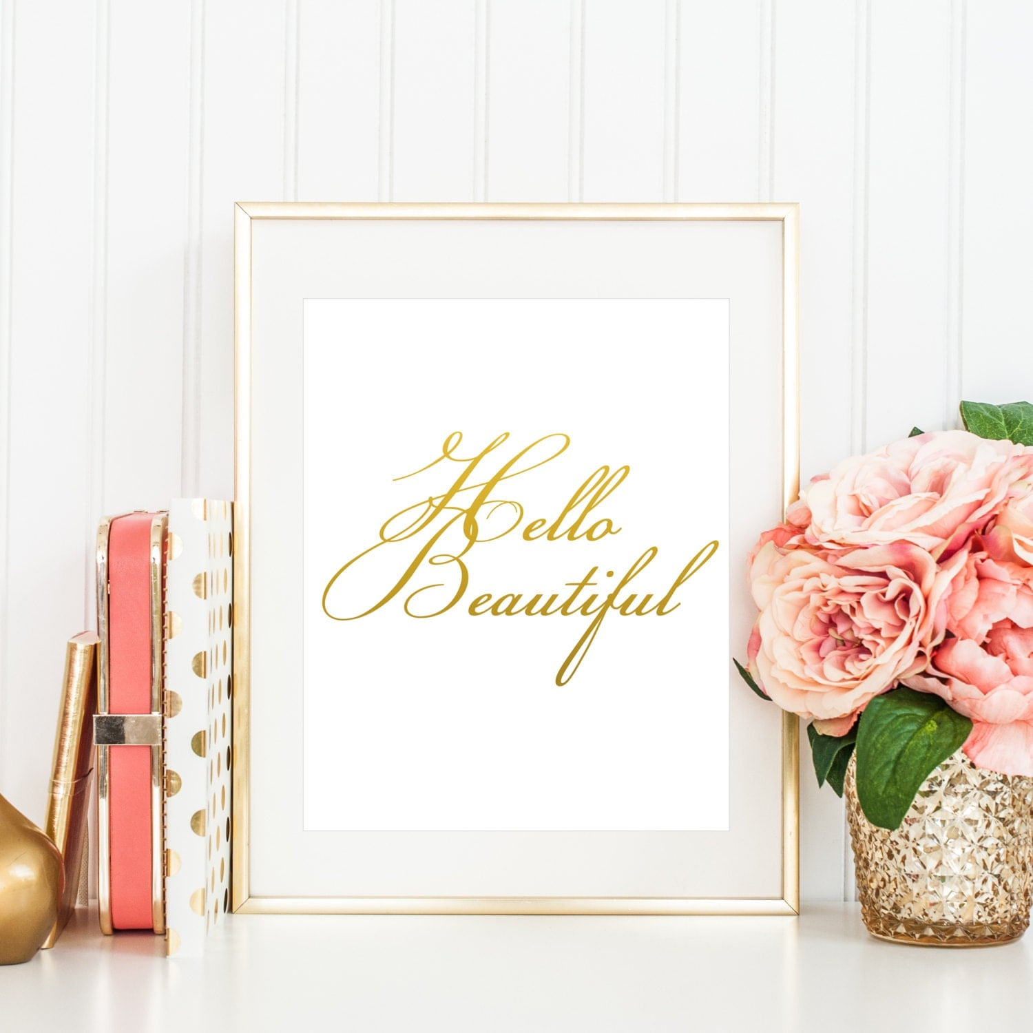 Hello beautiful printable quote for her bedroom gift for for Bedroom gifts for her
