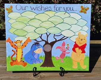 Our Wishes for you...Winnie the Pooh theme baby shower...well wishes for baby...16 x 20 inches...acrylic on canvas