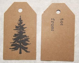 Kraft Pine Tree Gift Tags