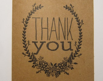 Kraft Floral Thank You Cards