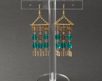 "Earrings with square beads.Earrings various colors:turquoise,blue,champagne,brown.Earrings with curtain shape.""Beads Curtain"""