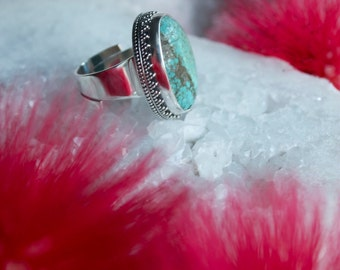 Genuine Turquoise Ring set in Sterling Silver Setting with Adjustable Band