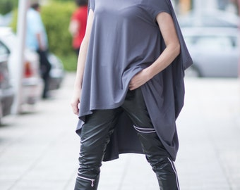 Dark Grey Asymmetrical Maxi Tunic Top, Plus size Women Clothing, Summer Ladies Loose Dress, Oversize Extravagant Women Long Tunic - TU0468TR