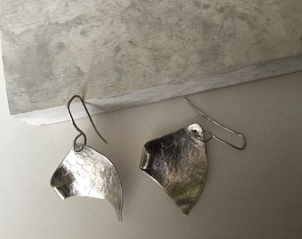 Handmade unique 925 Silver earrings, triangles, sails in the wind