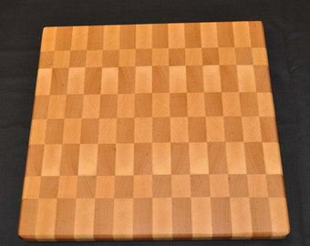 Handcrafted End Grain Maple and Beech Cutting Board - Checkered Pattern
