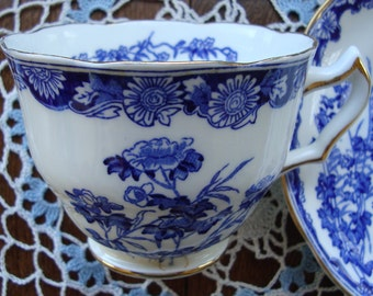 "Swansea ""Chatsworth"" - Bone Chine Made in England - Vintage Tea Cup and Saucer - Blue Scroll and Floral"