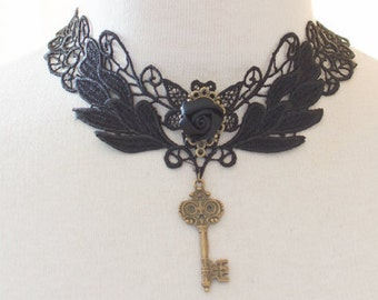 steampunk lace choker with key and rose