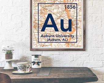 Auburn Tigers University Alabama Vintage Periodic Table Map UNFRAMED ART PRINT, Christmas birthday graduation gift ideas for her,home decor