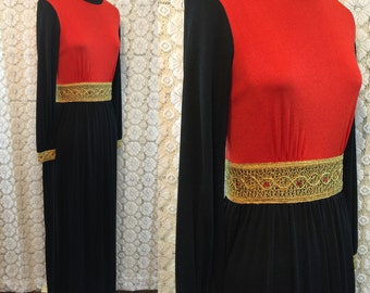 Perfect 1960s holiday maxi dress - gold waist and cuffs with red gems/crystals - back zip, turtleneck