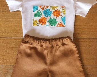 Shorts, Boys Linen Short and T-Shirt Set,