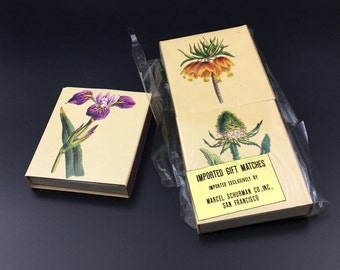 Vintage Matchboxes Imported Gift Matches with Original Matches Floral Matchbox