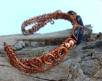 Copper Wire Wrapped Bracelet with 3 Blue Gold Stone Beads