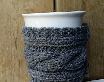 Coffee Sleeve, Grey, Mug Hug, Coffee Cup Sleeve, Cup Sleeve, Drink Holder, Coffee Cozy, Beverage Holder, Knit, Reusable, Dark Grey