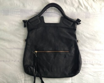 Black Hobo Leather Handbag - 3-in1 - Clutch